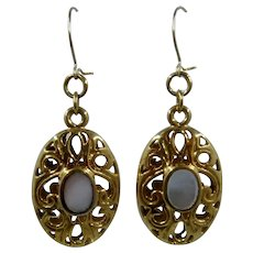 Gold Plated Abalone Shell Filigree Drop Earrings