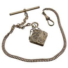 Edwardian GF Pocket Watch Chain Locket Fob