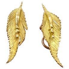 Georg Jensen & Wendel 18K Leaf Earrings in Case Clip
