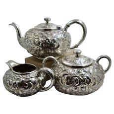 Davis & Galt Baltimore Roses Repousse Sterling Tea Set Bailey Banks & Biddle
