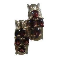 14K Garnets Omega Back Hoop Earrings