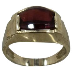 14K Stepped Garnet Ring Deco Style Sz 9 1/4
