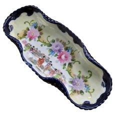 Nippon HP Geisha Chrysanthemums Porcelain Celery Dish Early 1900s