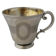 Ca 1880 German Silver Kiddush Handled Cup 13 Loth Judaica.