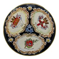 Early !900s Germany Cabinet Plate w/ City Coats of Arms Enamel Gilt