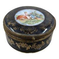 Black Porcelain Ormolu Trinket Box Courtship Scene Germany Early 1900s