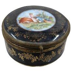 Art Pottery Lindner Kueps Hp Porcelain Cobalt Gilt Vase & Large Serving Platter Floral