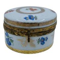 German Porcelain Dresser Box w/ Mirror HP Flowers Gilt