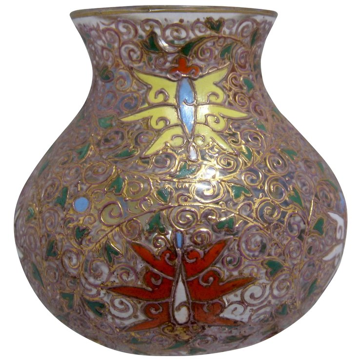 Ca 1885 Moser Bohemian Glass Vase Gilt Enamels Insects Mendocino