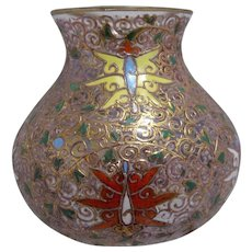 Ca 1885 Moser Bohemian Glass Vase Gilt & Enamels Insects