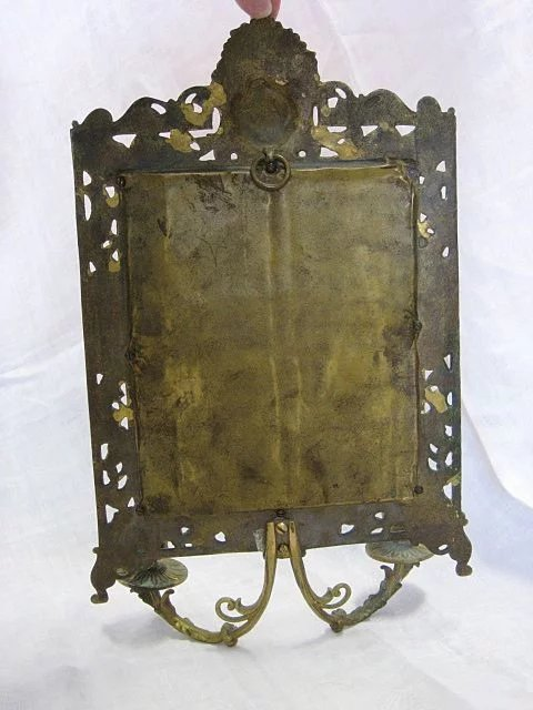 Late 1800s Brass Girandole Wall Mirror W Candle Holders