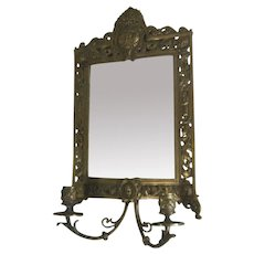 Late 1800s Brass Girandole: Wall Mirror w/ Candle Holders Bacchus