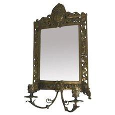 Late 1800s Brass Girandole: Wall Mirror w/ Candle Holders Bacchus