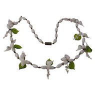 """Vintage Murano Glass Love Birds & Leaves Necklace 20"""""""