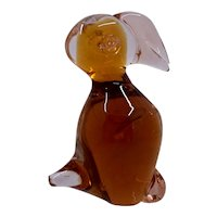 Vintage Blown Glass Puffin Figure Amber & Rose Color