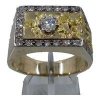 14K Gold w/ 22K Nuggets Ring Diamonds 1.15 TCW Sz 12 1/2