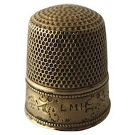 14K Gold Thimble Engraved Pattern Size 10 Early 1900s