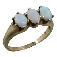 Antique 14K Three Oval Opals in Line Ring Sz 7