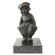 Bronze Dutch Boy on Marble by Gordillo