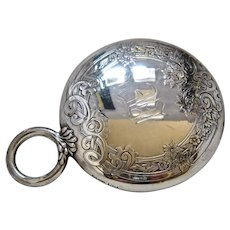 Ca 1900 Gorham Sterling Hand Mirror Ring Handle Floral Pattern