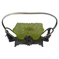 Reed & Barton Greenaway Figural Bride's Basket Vaseline Glass
