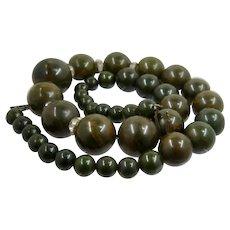 "Green Marbled Bakelite Graduated Bead Rhinestone Rondelle Necklace 17 1/2"""