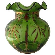 Ca 1900 Green Bohemian Glass Vase w/ Gilt & Chinese Red Enamel