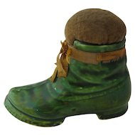 Victorian Ceramic Green Boot Pin Cushion Unusual