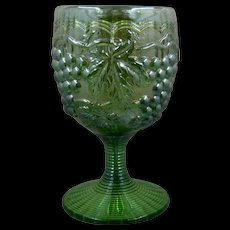 """Carnival Imperial """"Grapes"""" Green Glass Goblet Early 1900s"""