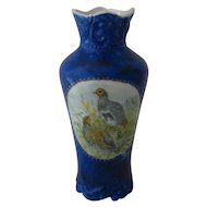 Hand Painted Porcelain Vase w/ Grouse Panels European Early 1900s