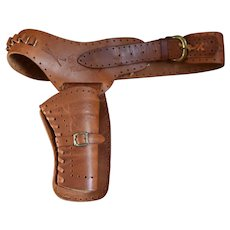Vintage Western Style Leather Revolver Holster & Belt