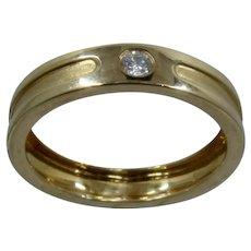 18K Mens Gypsy Set Diamond Band Ring 1/4 Ct Sz 12