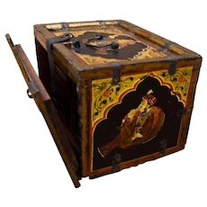 Antique India Trinket Box w/ Drawers Hand Painted Mughal Art