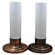 Pair Haffner Chicago Bullet Candle Holders Cylindrical Shades Ca 1930