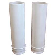 Tall Haffner & Co. Chicago Cylinder White Glass Shades