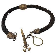 Victorian Woven Hair Watch Chain Key Fob Mining Symbol