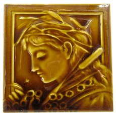 Hamilton Tile Works Art Nouveau Woman Portrait Tile
