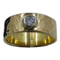 18K Hammered Gold Band w/ .4 Carat Diamond Sz 12