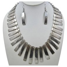 Artist Hand Hammered Sterling Fringe Bib Necklace & Earrings