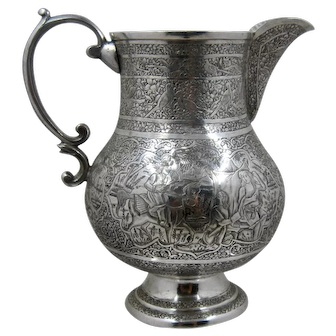 Middle Eastern Hand Chased Silver Pitcher Early 1900s