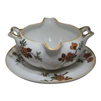 Haviland Limoges Porcelain Normandy Gravy Boat w/ Underplate France