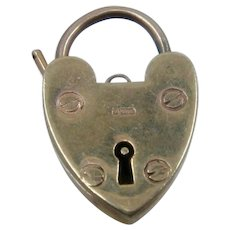English 9K Gold Heart Lock Pendant Charm Mechanical