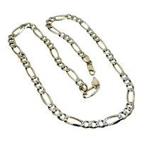 "Heavy 14K Yellow Gold Figaro Chain Diamond Cut Links 34.6 Grams 22"""