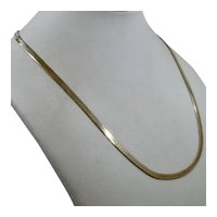 """10K Herringbone Chain Necklace Polished Gold 3.5mm 10.4 Grams 18"""""""