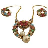 1950s Hollycraft Multicolor Pastel Set Necklace Earrings