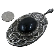 Huge Old Hand Made Silver Plated Pendant  Black Glass