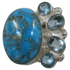 Huge Sterling Ring Gold Foil Turquoise Blue Crystals Sz 9