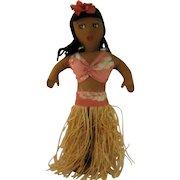 "1940s Hula Girl Doll w/ Grass Skirt Cloth Body 13"" High"