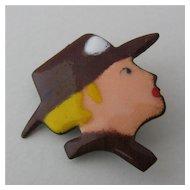 Enameled Pin Blonde Woman in Brown Brimmed Hat