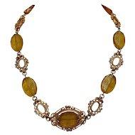 """Czech Citrine Intaglio Glass Necklace w/ Fancy Gold Tone Links 16.5"""""""
